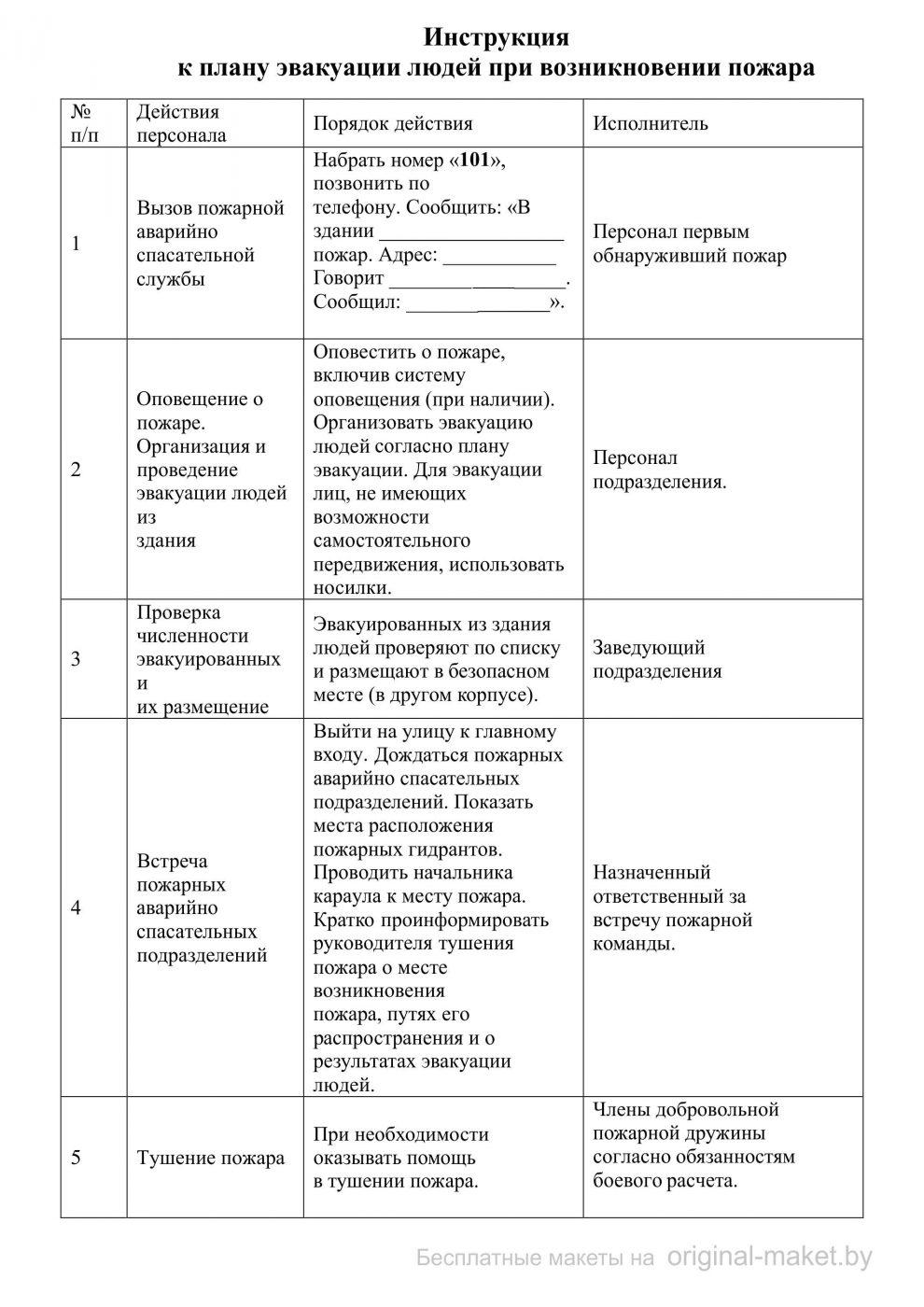 Инструкция к плану эвакуации