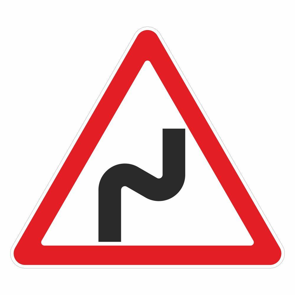 Опасные повороты - дорожный знак в векторе