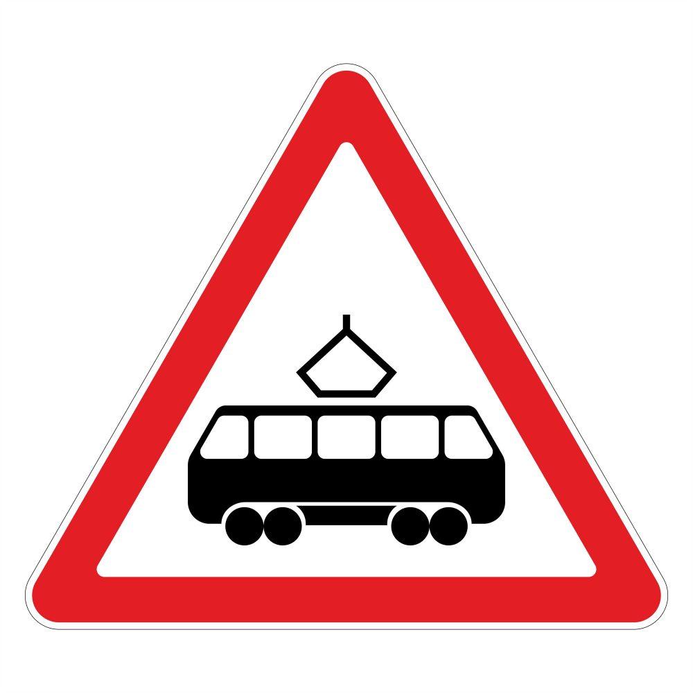 Дорожный знак - пересечение с трамвайной линией - в векторе