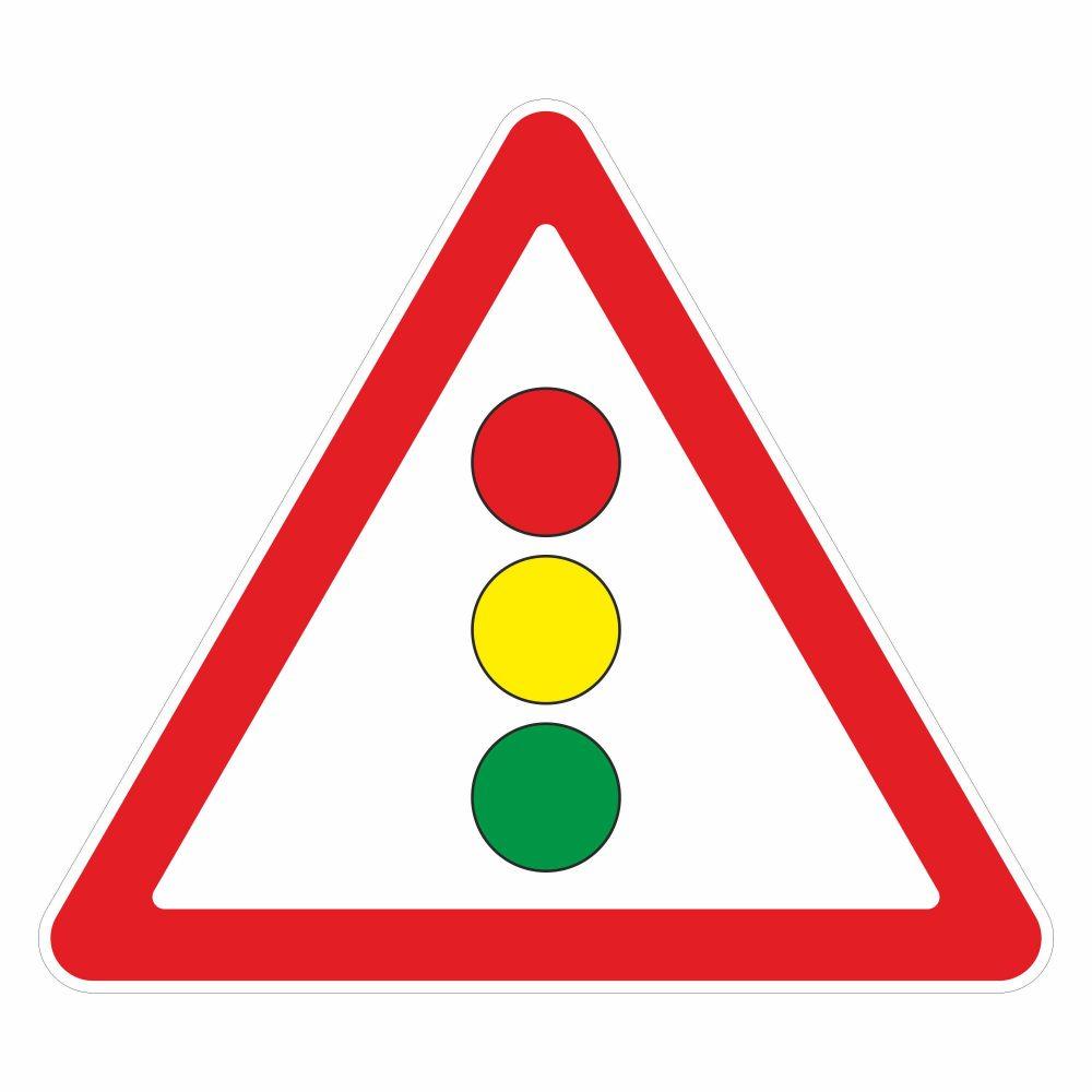 """Дорожный знак """"Светофорное регулирование"""" в векторе"""